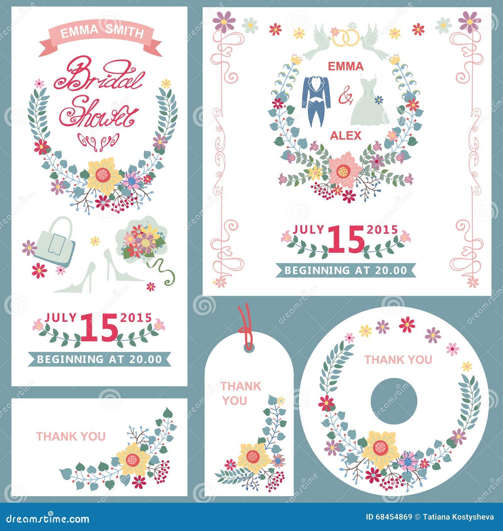 weddingbridal shower invitation cards set with floral decor
