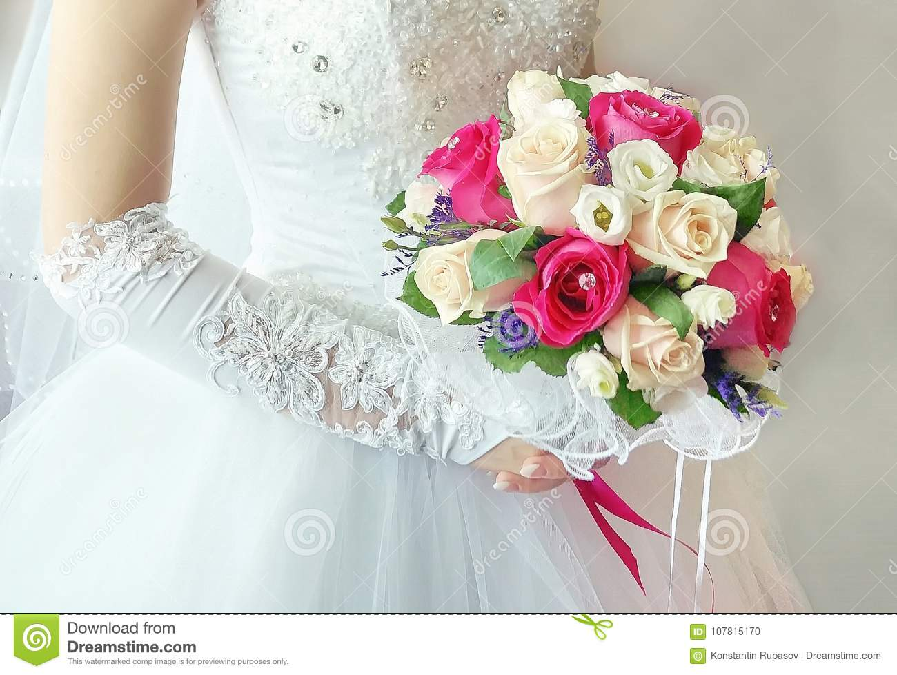 Wedding Bride Dress Bouquet Of Roses Red And White Stock Photo ...