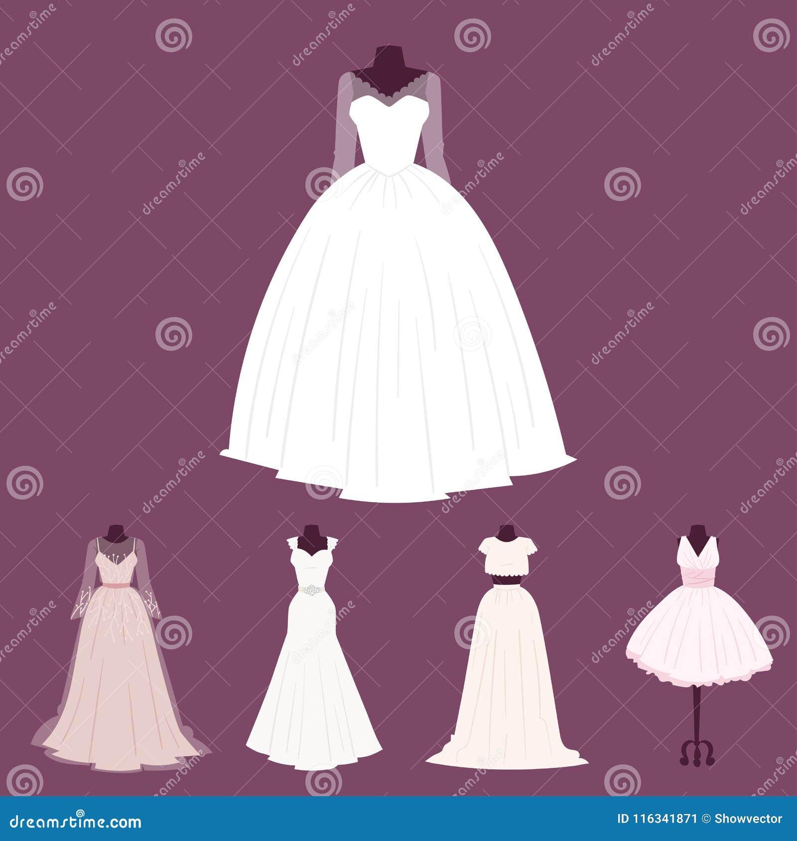 14aff94a857 Wedding bride dress elegance style celebration bridal shower clothing  accessories vector illustration.