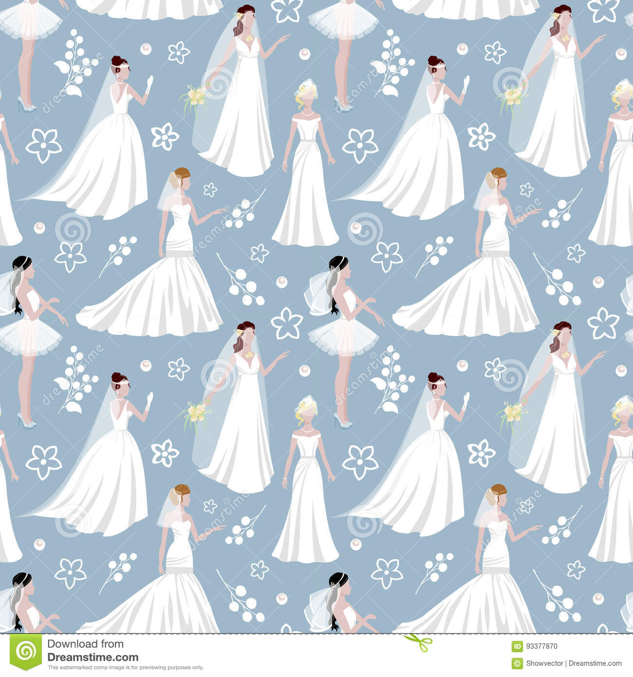 Wedding Bride Girl Character Seamless Pattern Background. Happy ...