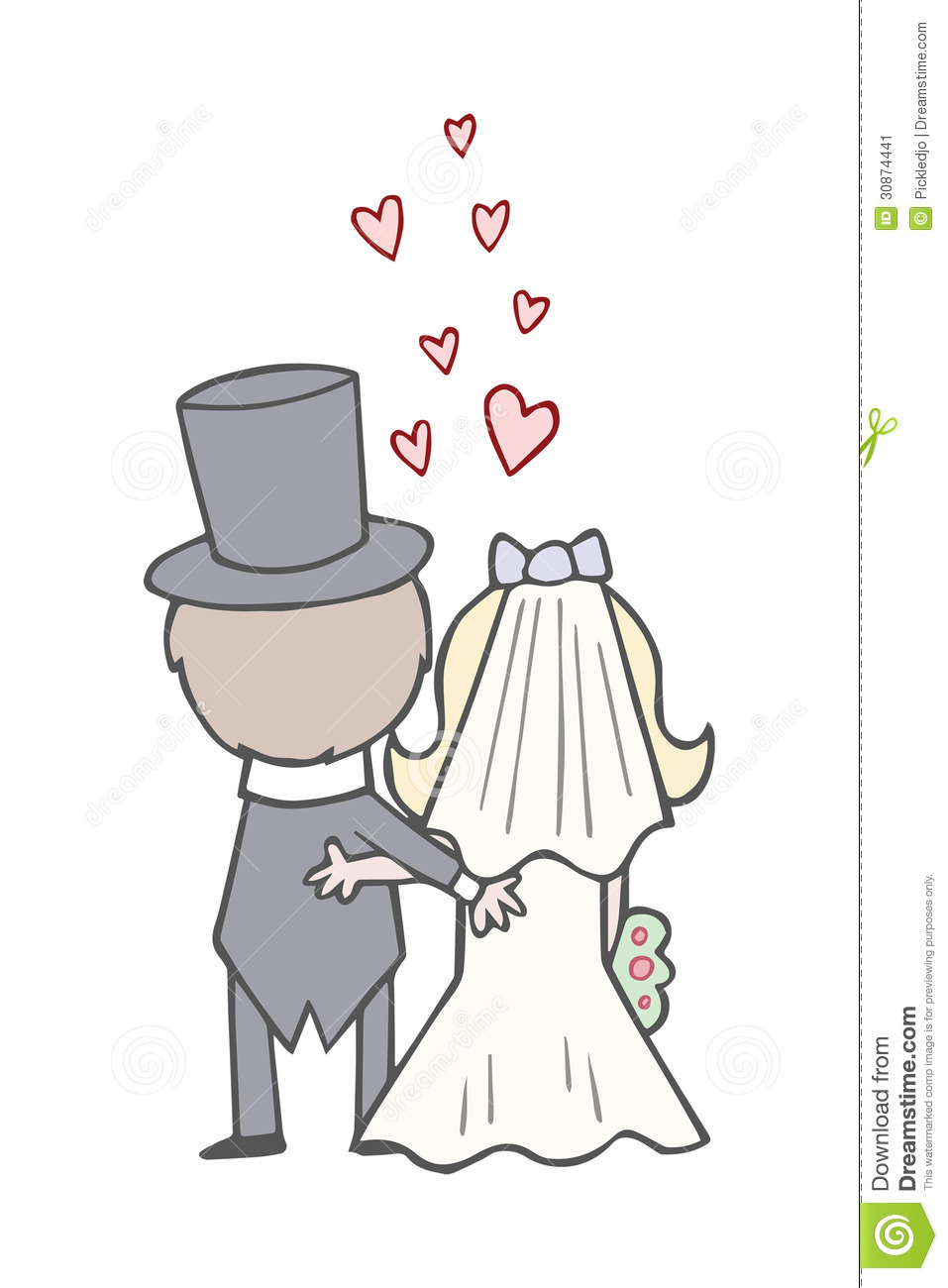 Wedding Bride And Groom Backs Wedding Day Cute Cartoon