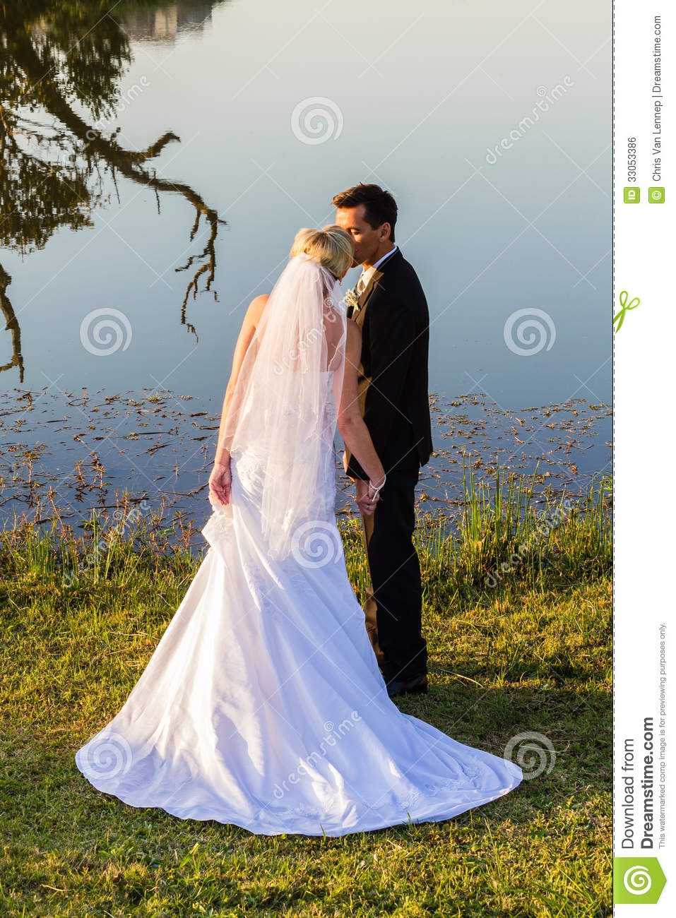 Wedding Bride Groom Romantic Kiss Royalty Free Stock Image