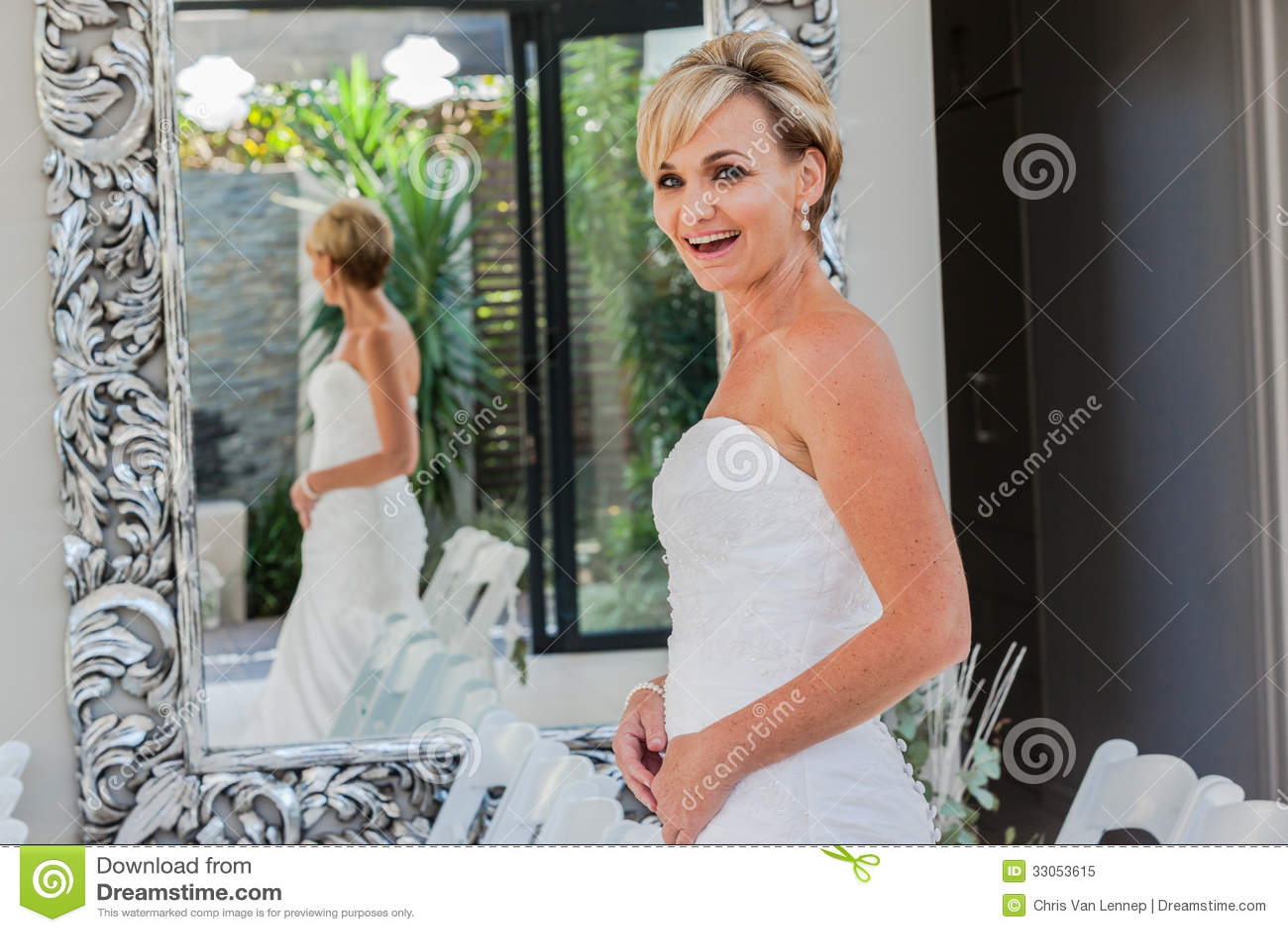 Happy Bride Smiles Mirror stock image. Image of colors - 33053615