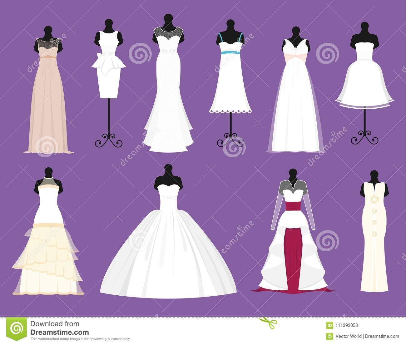 wedding bride white dresses vector set bride bridesmaid white wear dressing accessories bridal shower celebration and