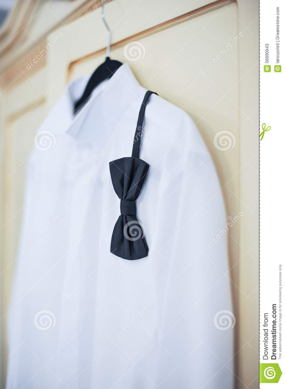 Wedding Bright White Shirt And Black Bow Formal Groom