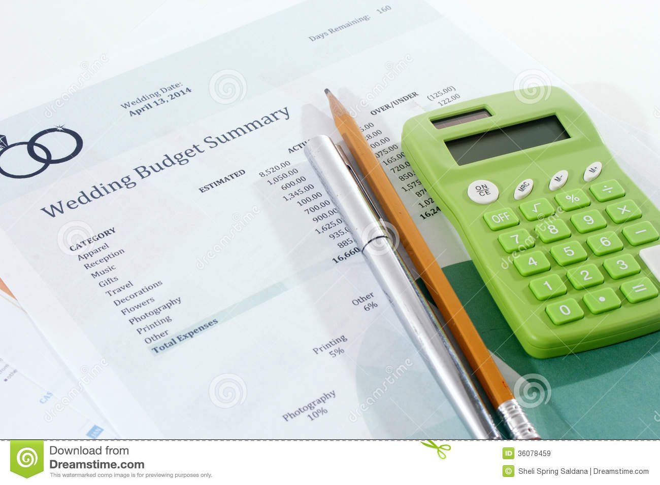 Wedding Budget With Green Calculator Royalty Free Stock ...