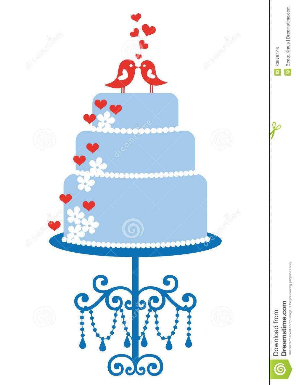 Wedding Cake With Birds Vector Stock Vector Illustration Of