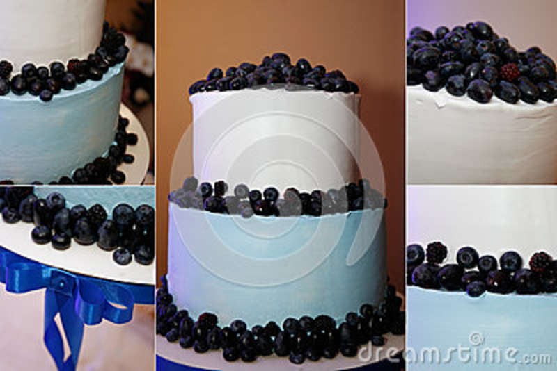 Wedding Cake With Blue Ribbon Stock Image Image Of Cake Mulberry