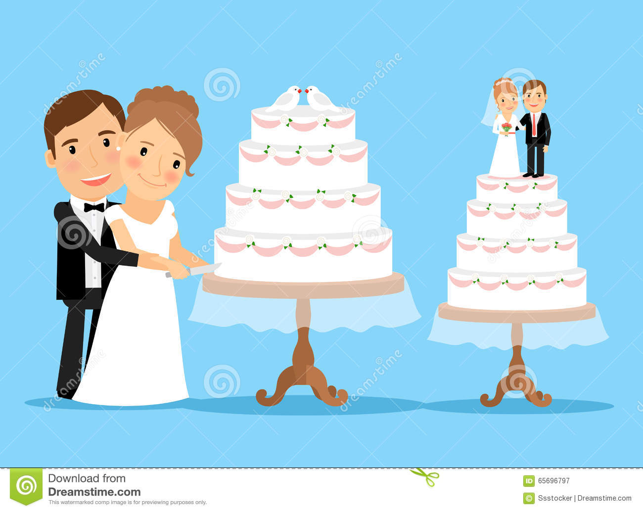Wedding Cake With Bride And Groom Stock Vector - Image ...