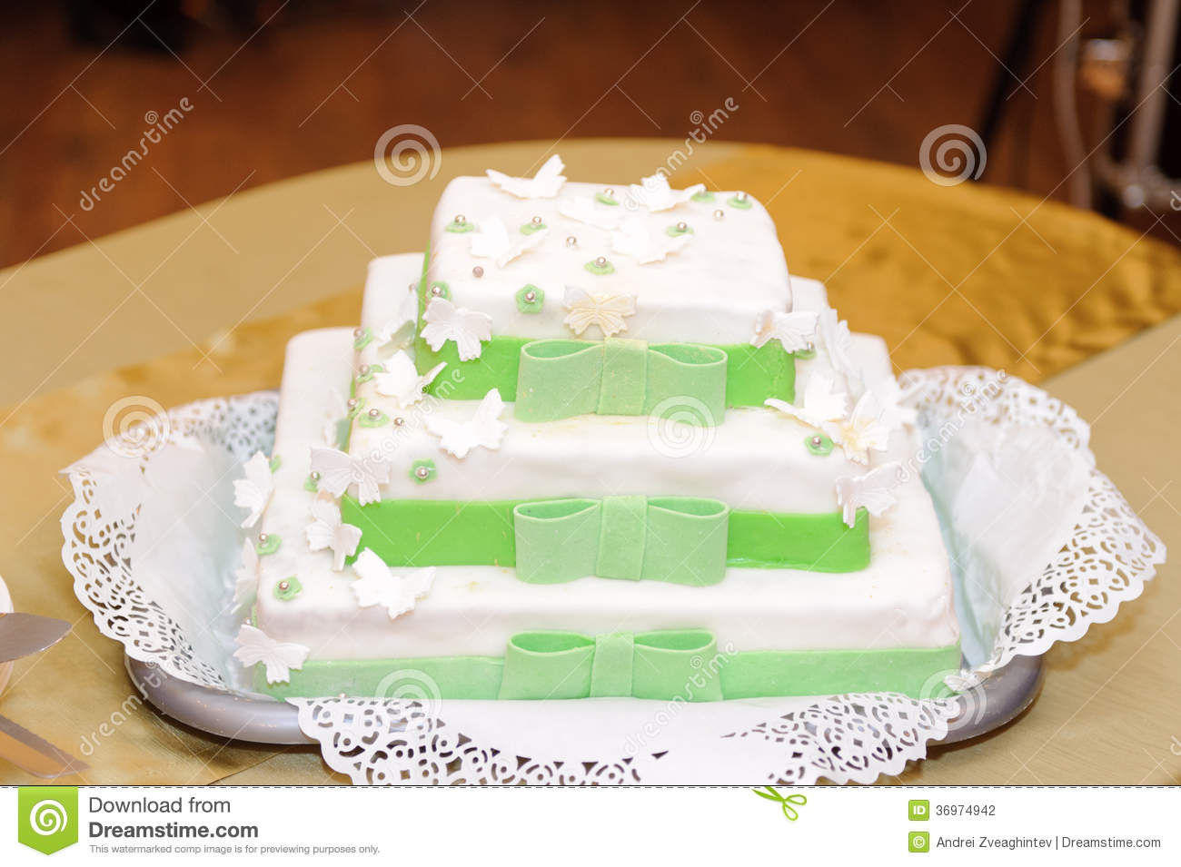 Wedding Cake With Butterflies On Tray