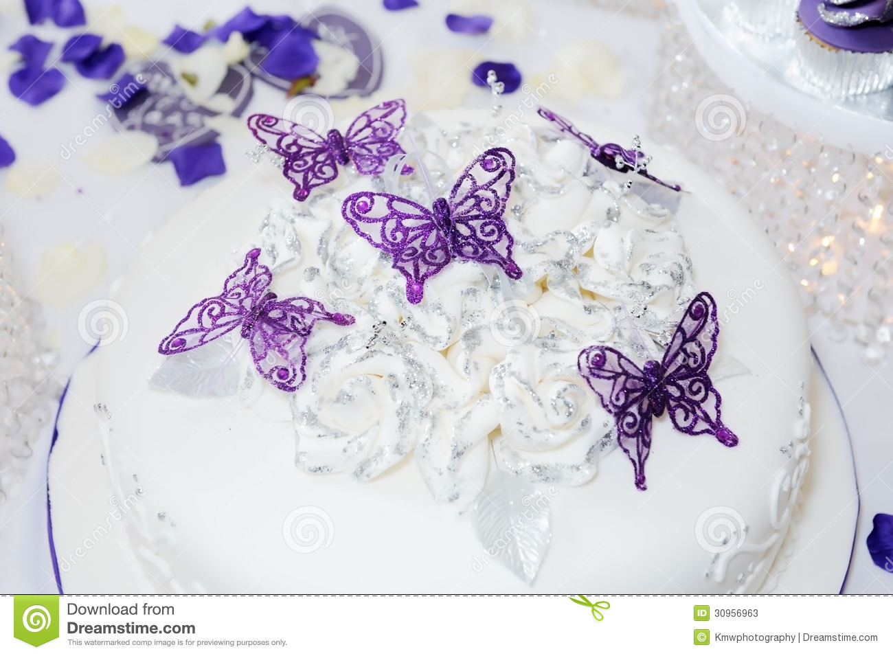 Wedding Cake With Butterflys Stock s Image
