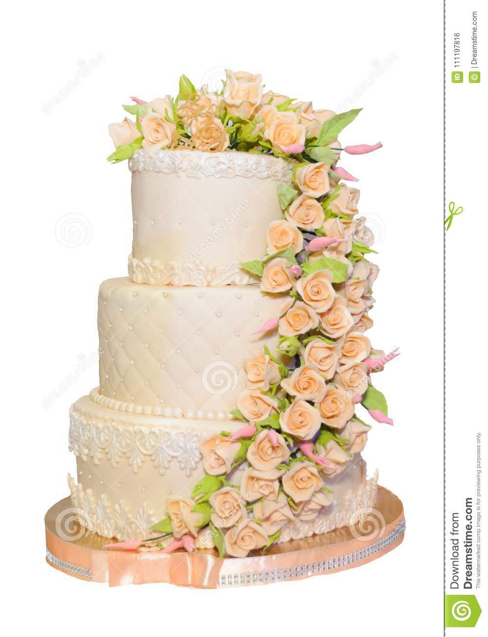 Wedding Cake In Coral Color Stock Photo - Image of ribbons, white ...