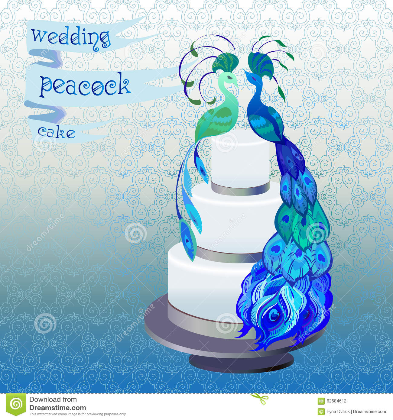 blue and green wedding cake designs wedding cake with peacocks blue green vector 11946