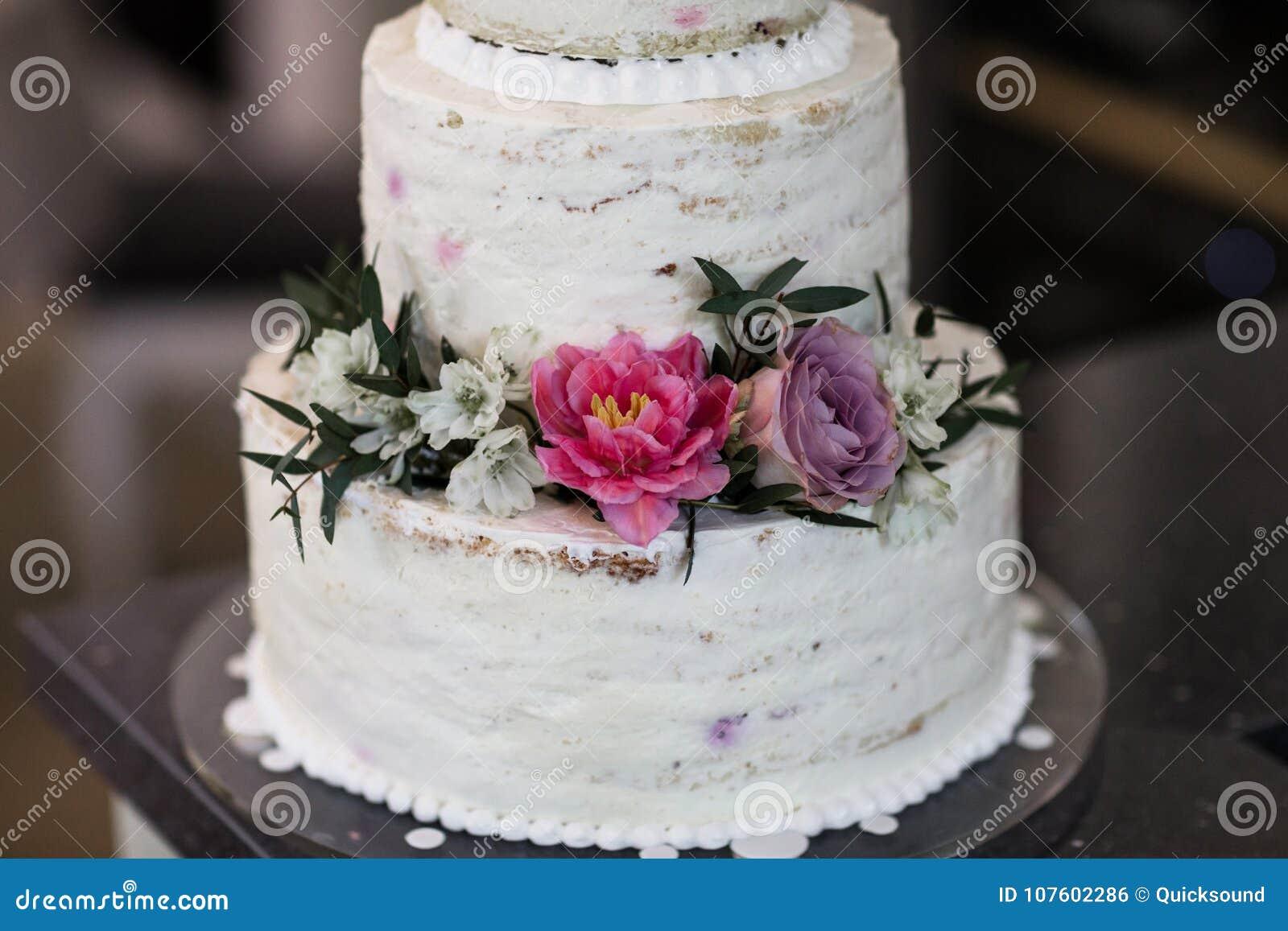 Wedding Cake Decorated With Fresh Flowers Stock Photo Image Of