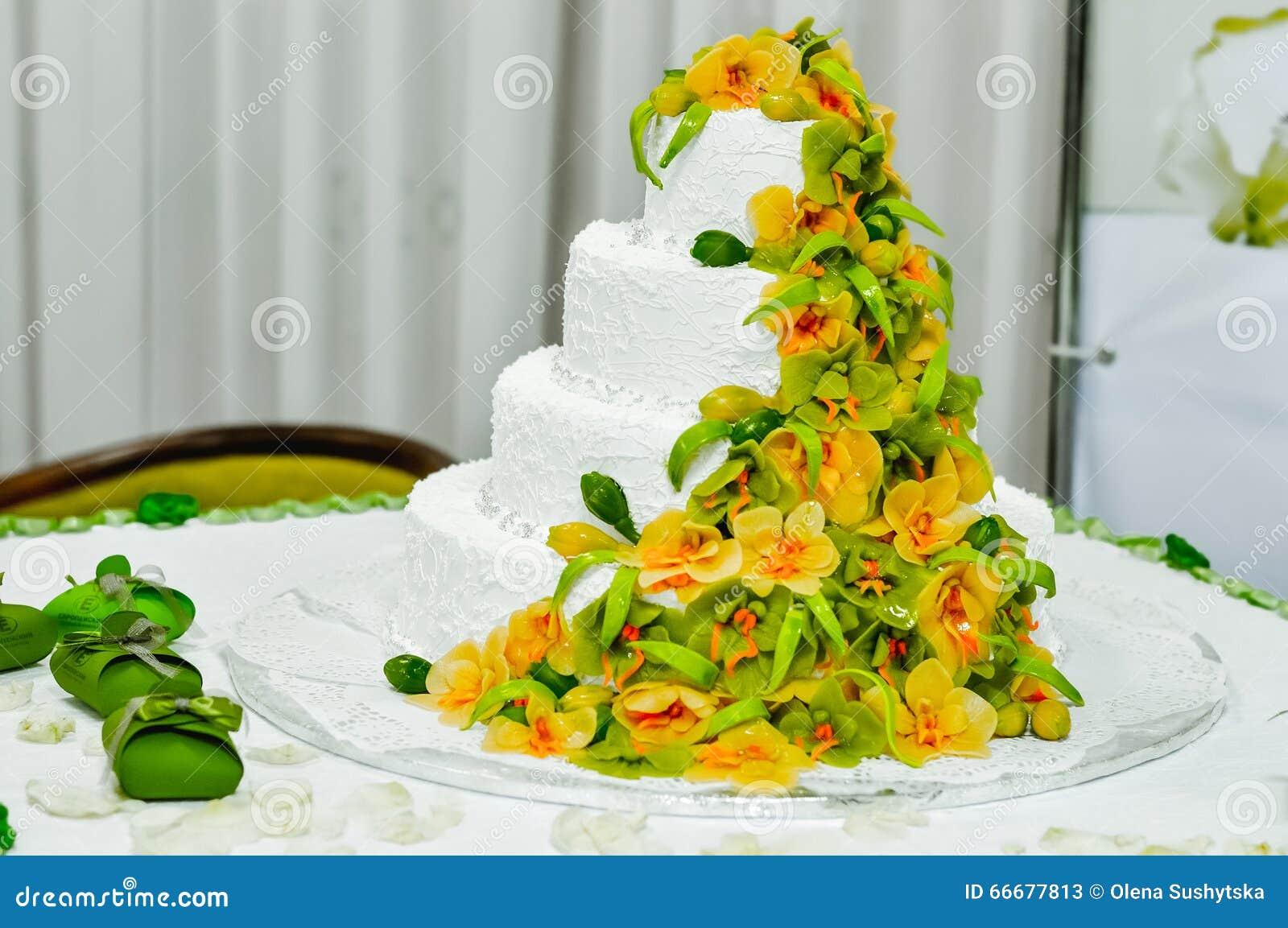 Wedding Cake Decorated Fruit Stock Photo - Image: 66677813
