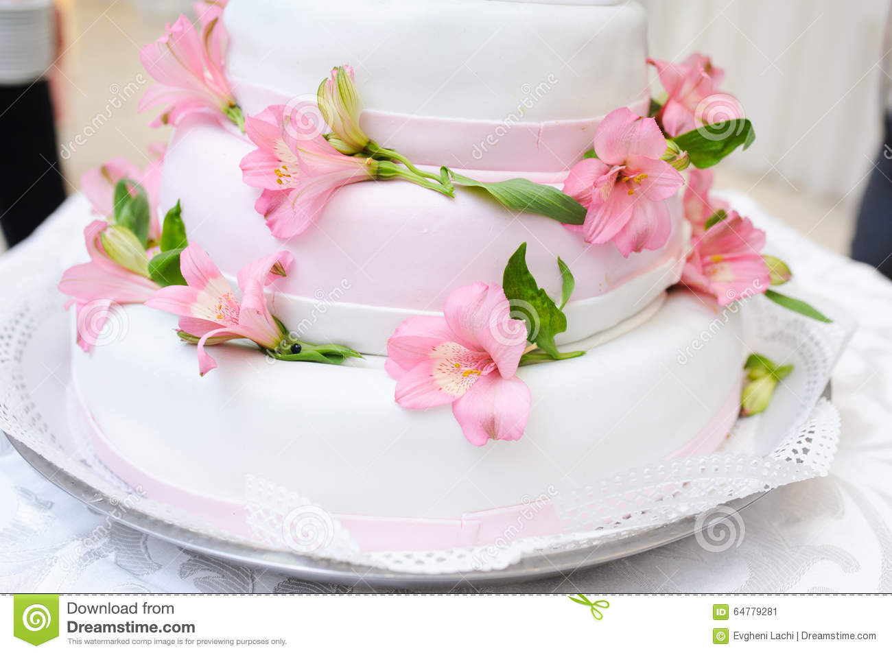 Wedding Cake Stock Image Image Of Flowers Pretty Table 64779281