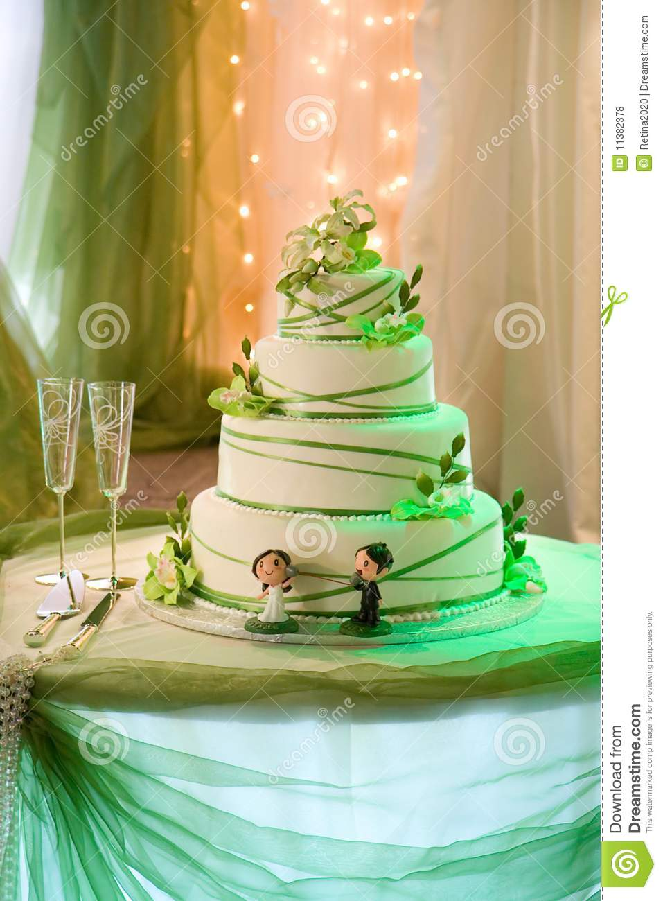 Wedding Cake With Edible Cream Orchids Stock Photo - Image of ...