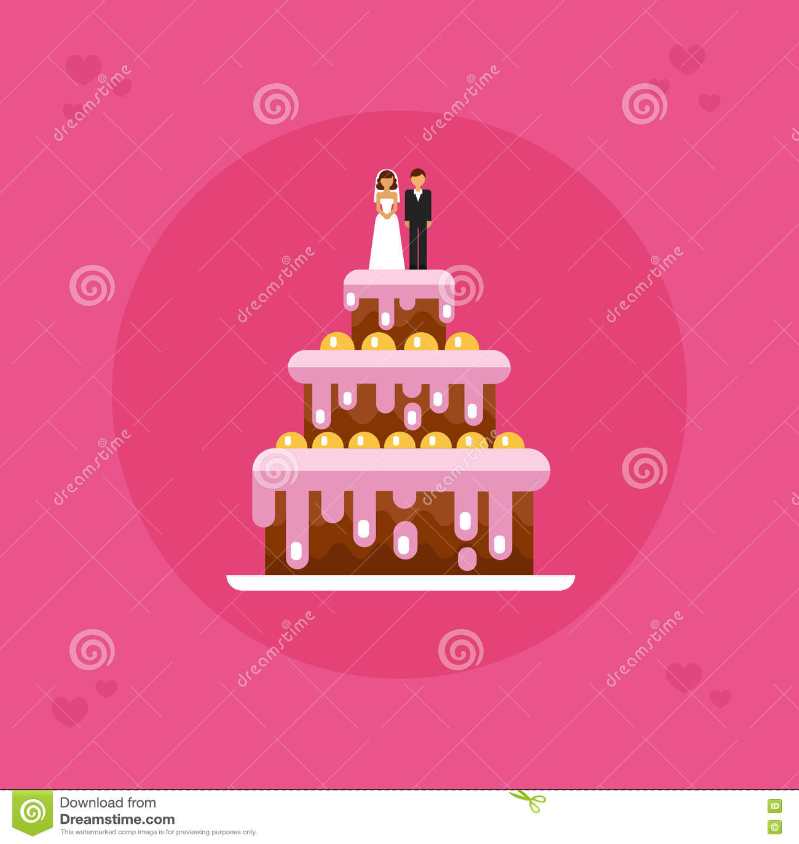 Wedding cake stock vector. Illustration of gift, decoration - 78207593