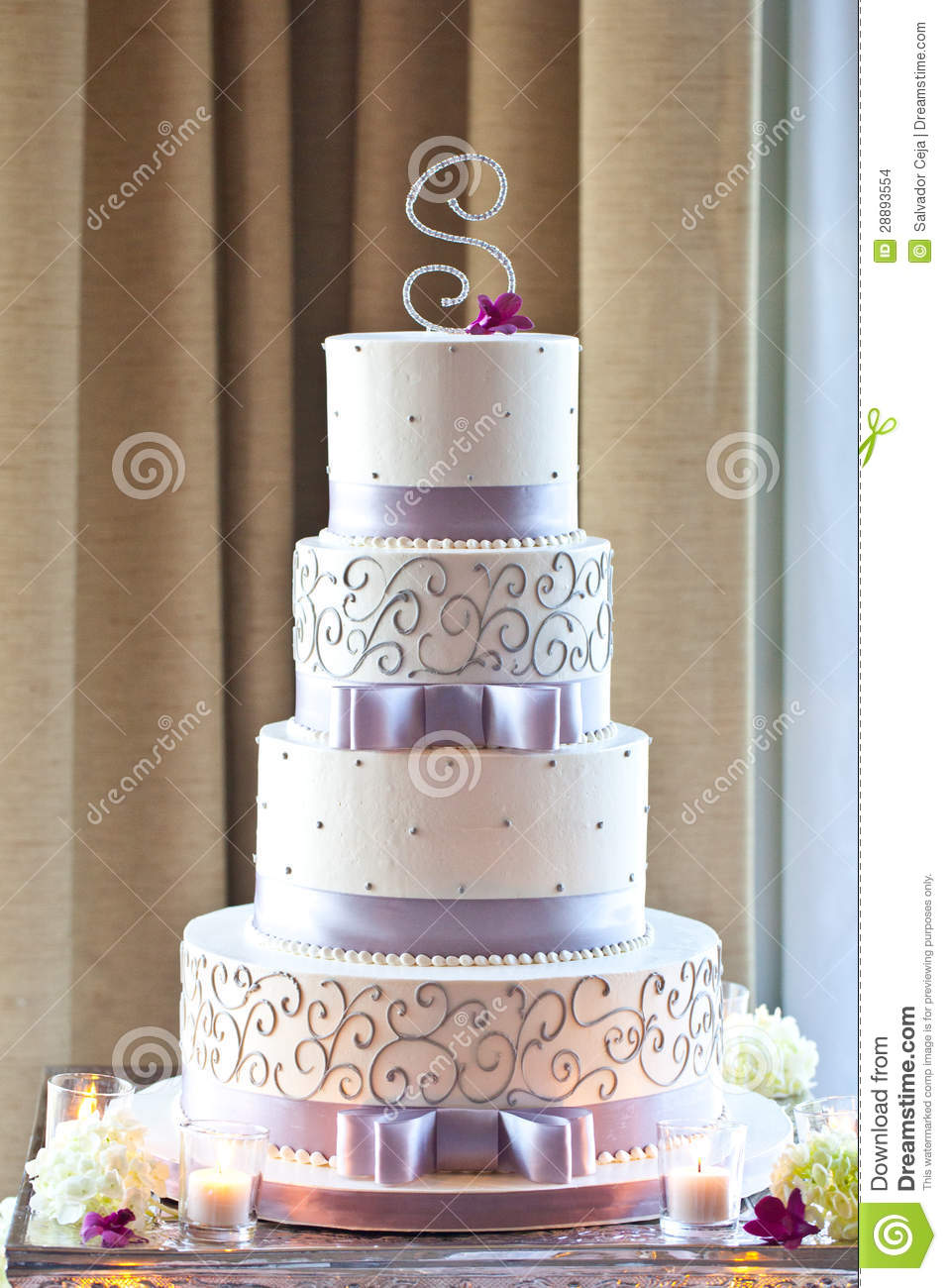 Wedding Cake With Flowers Stock Photo Image Of Glass