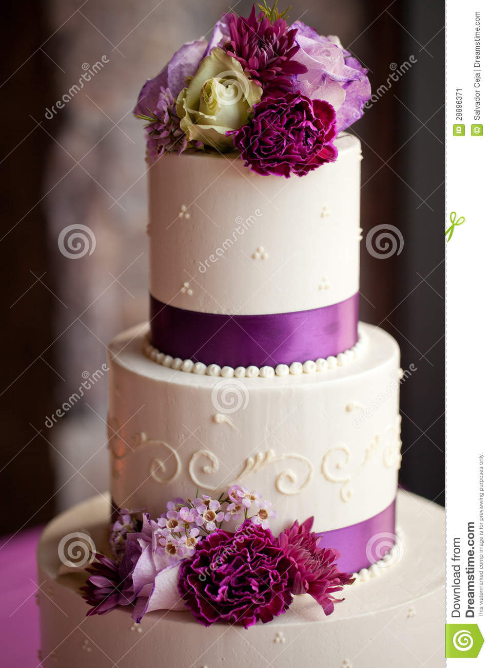 wedding cake with flowers on the side wedding cake with flowers stock image image 28896371 26884