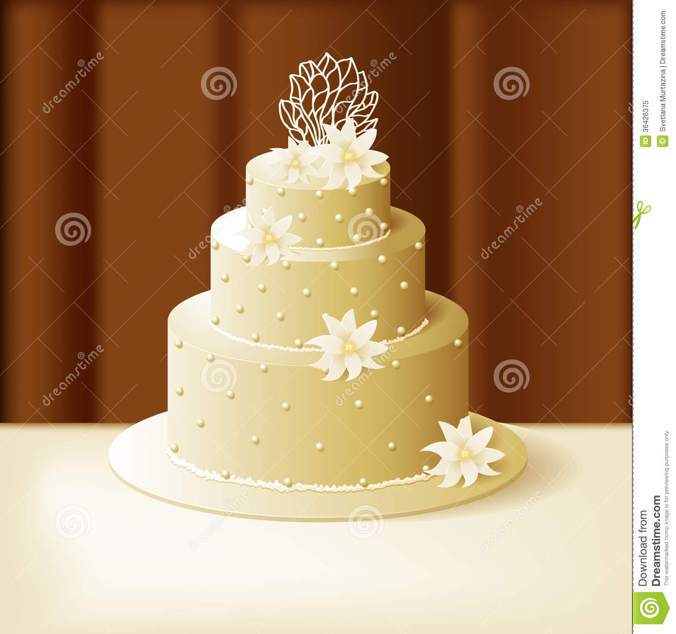 Wedding Cake With Lilies And Sweet Pearls Stock Vector ...