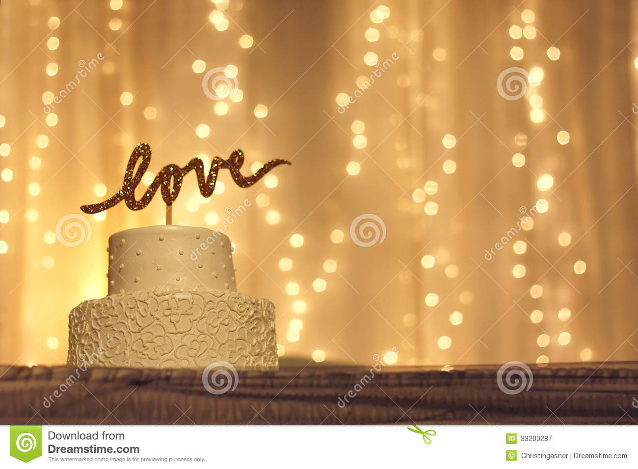wedding cake with love topper stock image image of ambiance dessert 33200287. Black Bedroom Furniture Sets. Home Design Ideas