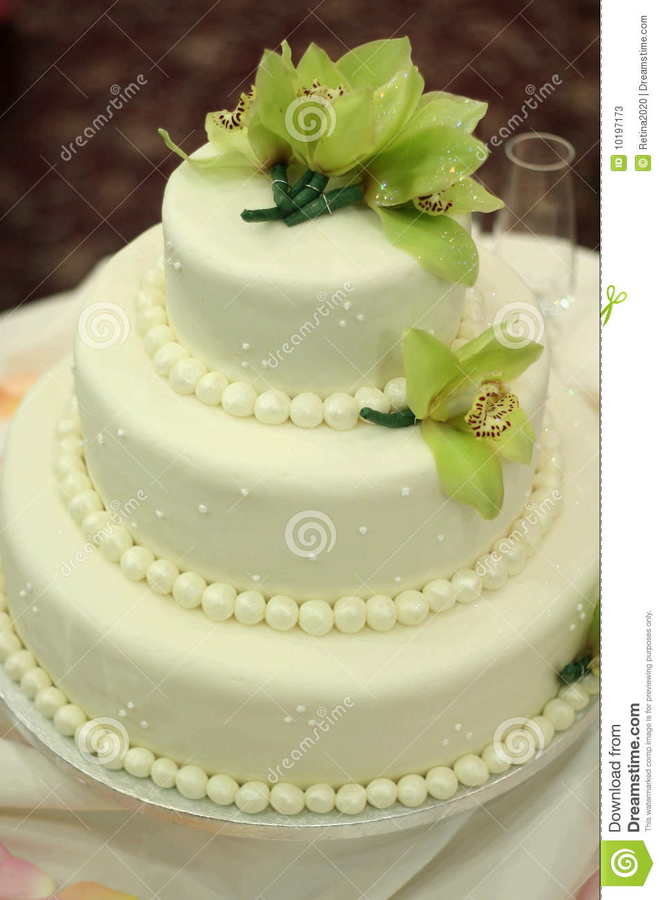 Wedding Cake with Orchids stock image. Image of weddings - 10197173