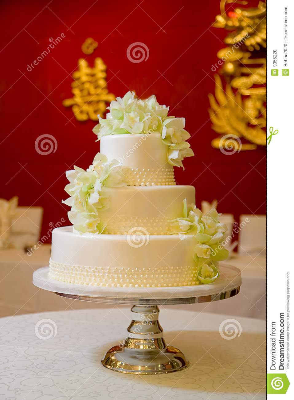 Wedding Cake with Orchids stock photo. Image of reception - 9355220