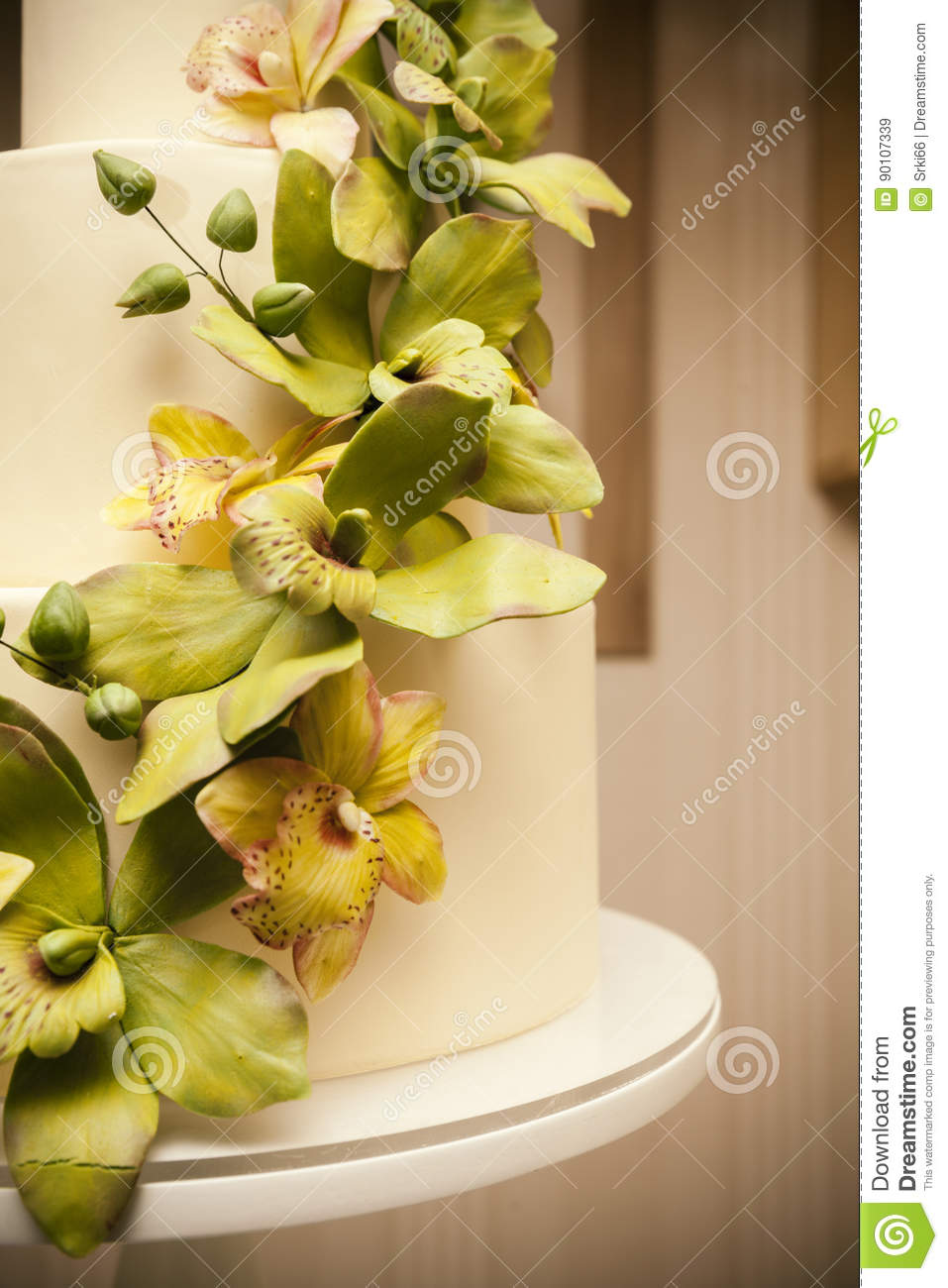 Wedding Cake With Orchids Marzipan Stock Image - Image of dessert ...