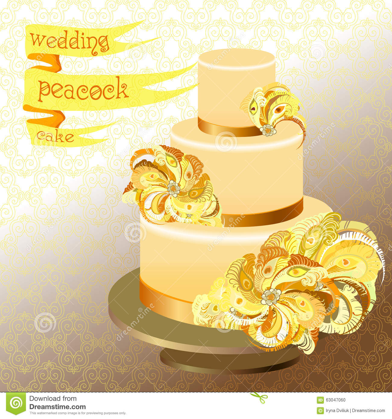 Peacock Feather Wedding Cake: Wedding Cake With Peacock Feathers. Golden Yellow Design