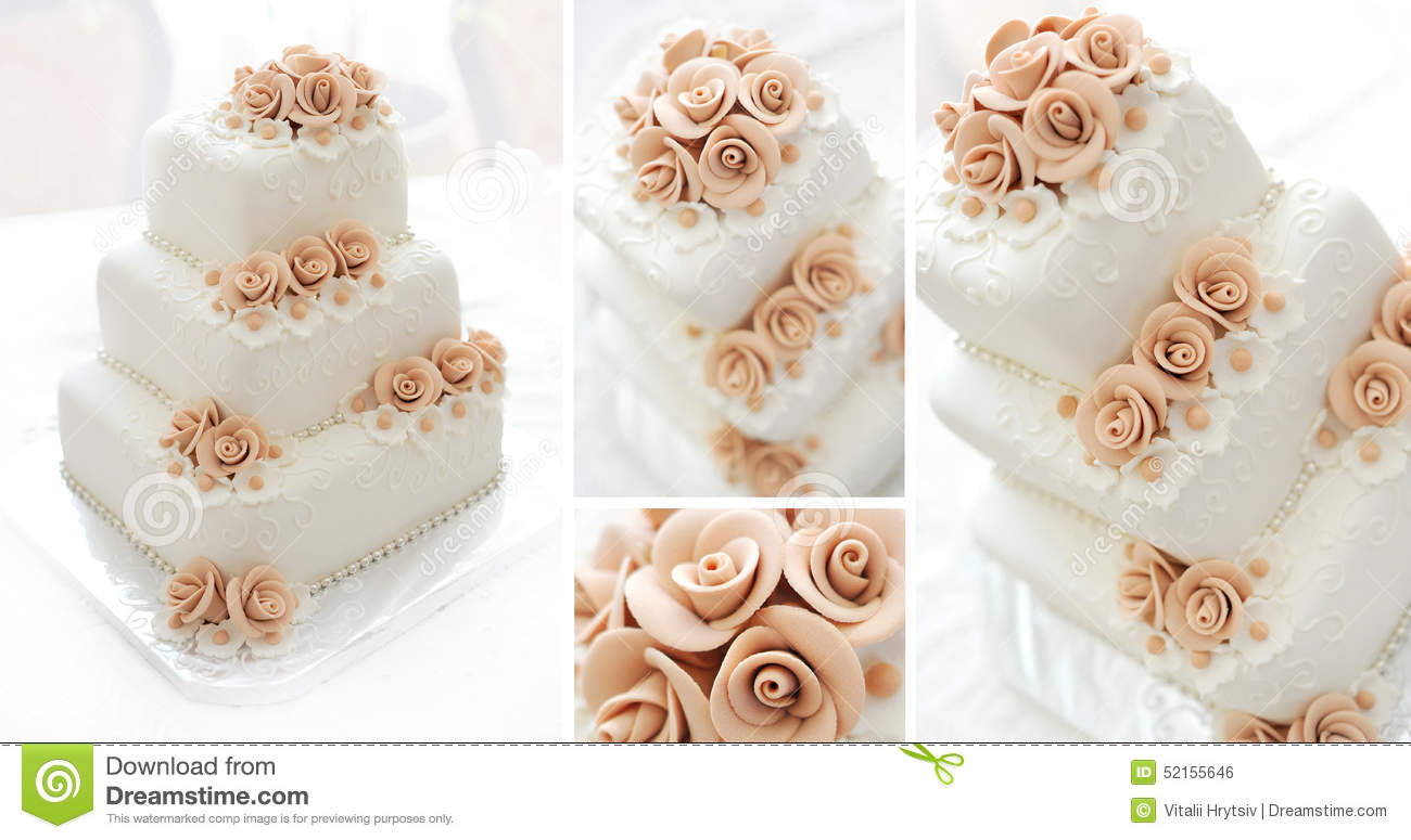Wedding Cake With Pink Flowers Stock Image
