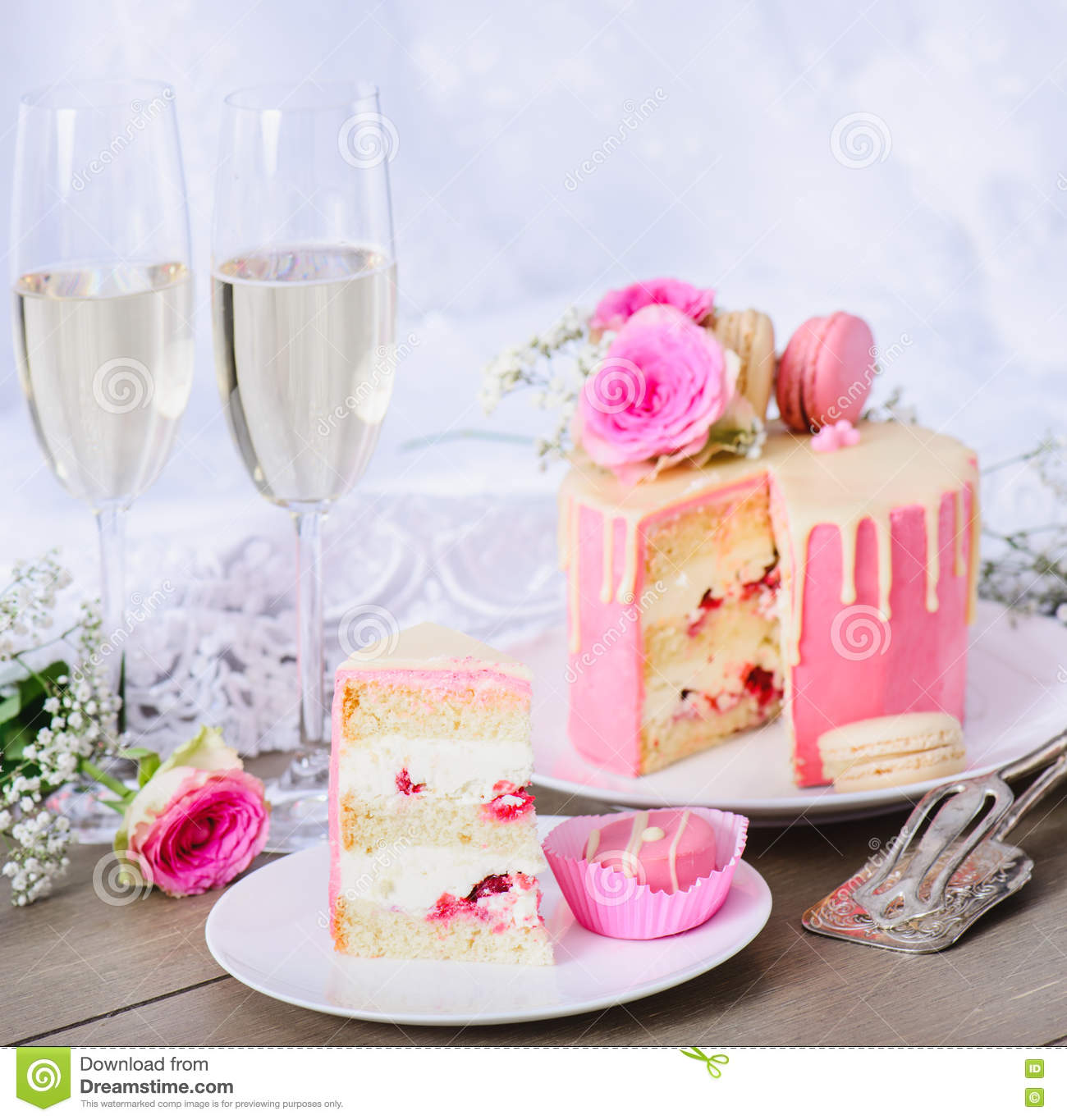 Wedding Cake With Pink Frosting Stock Image - Image of beautiful ...