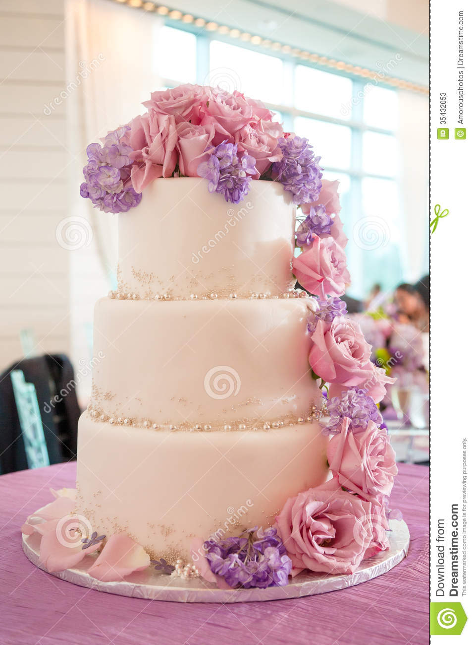 purple and pink wedding cakes wedding cake with pink and purple flowers stock image 18866