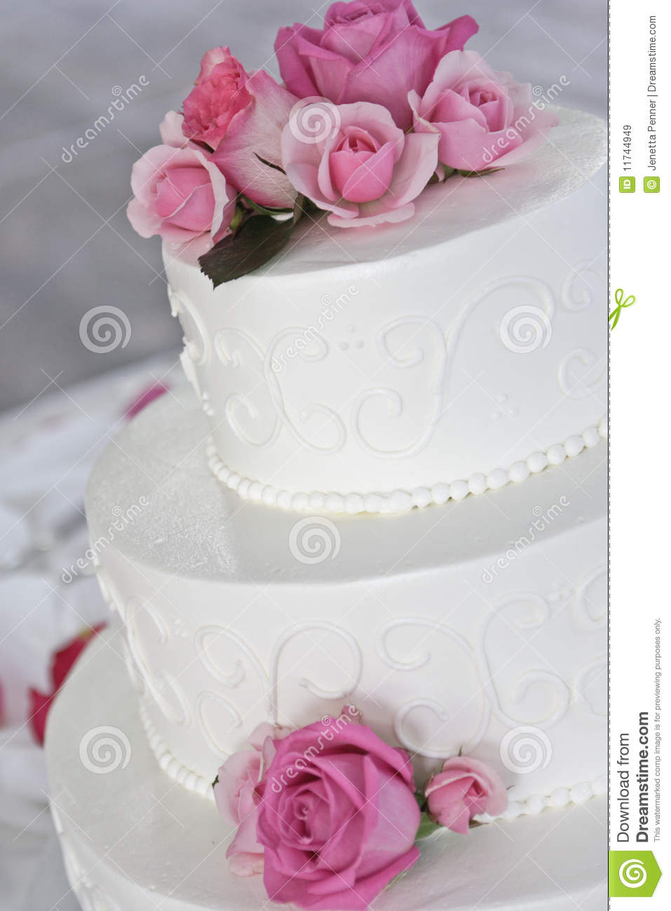 Wedding Cake With Pink Roses Stock Image Image 11744949