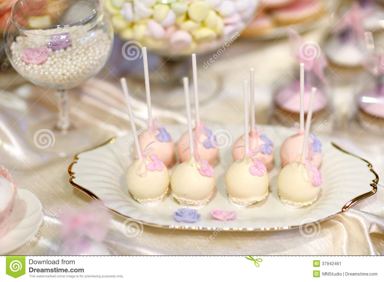 Wedding Cake Pops In Pink And Purple Stock Image Image