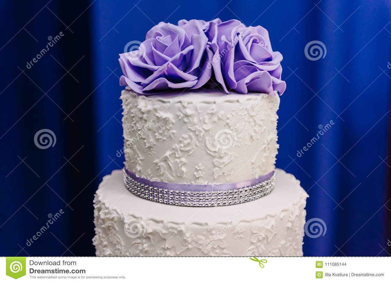 Wedding Cake With Purple Flowers Wedding Cake Stock Photo Image