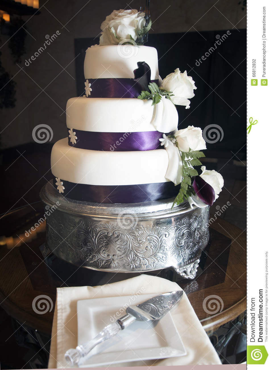 wedding cakes purple and white white fondant cake with pink flowers stock image 25323