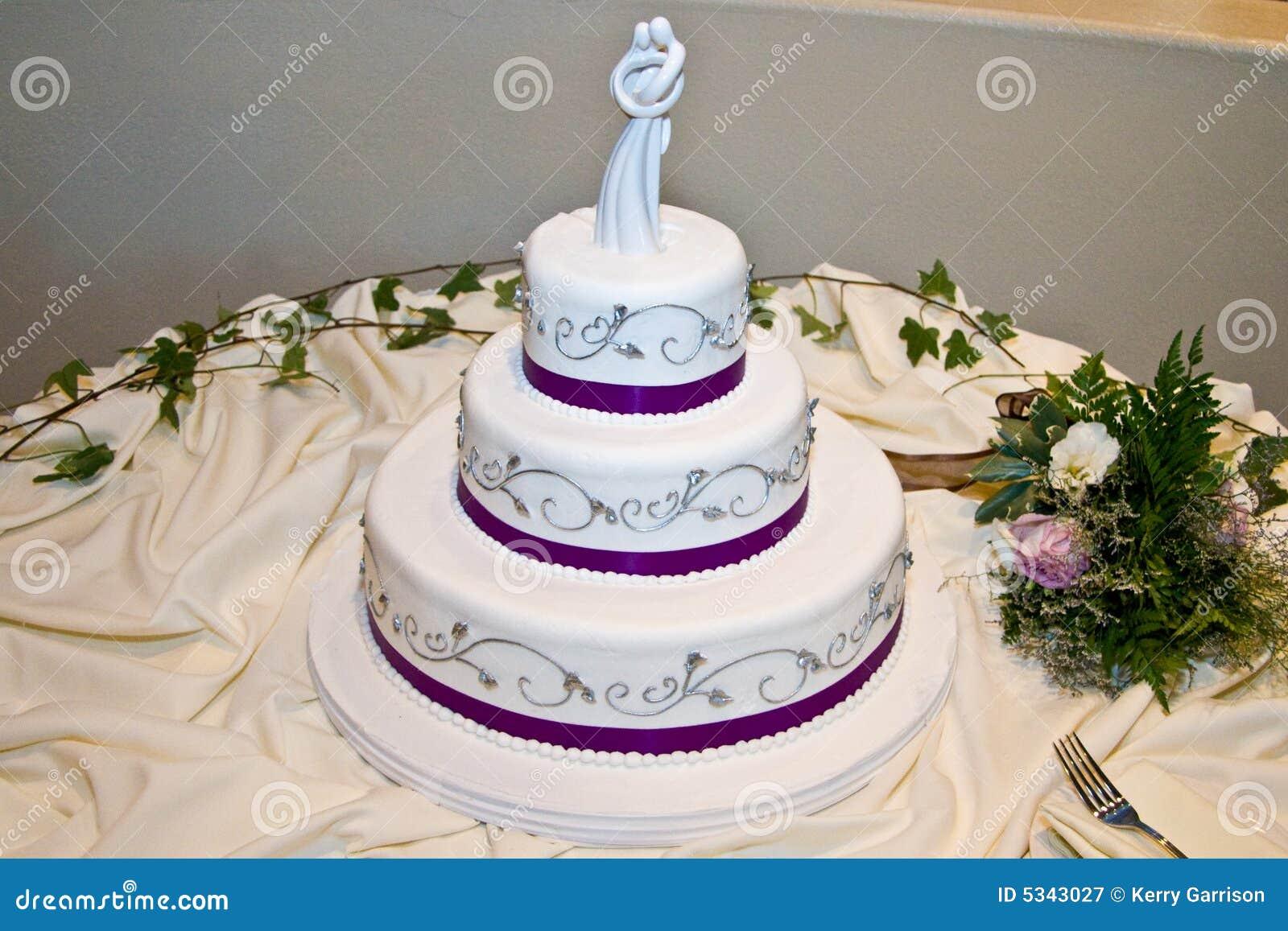 Wedding Cake With Purple Trim Stock Image Image 5343027