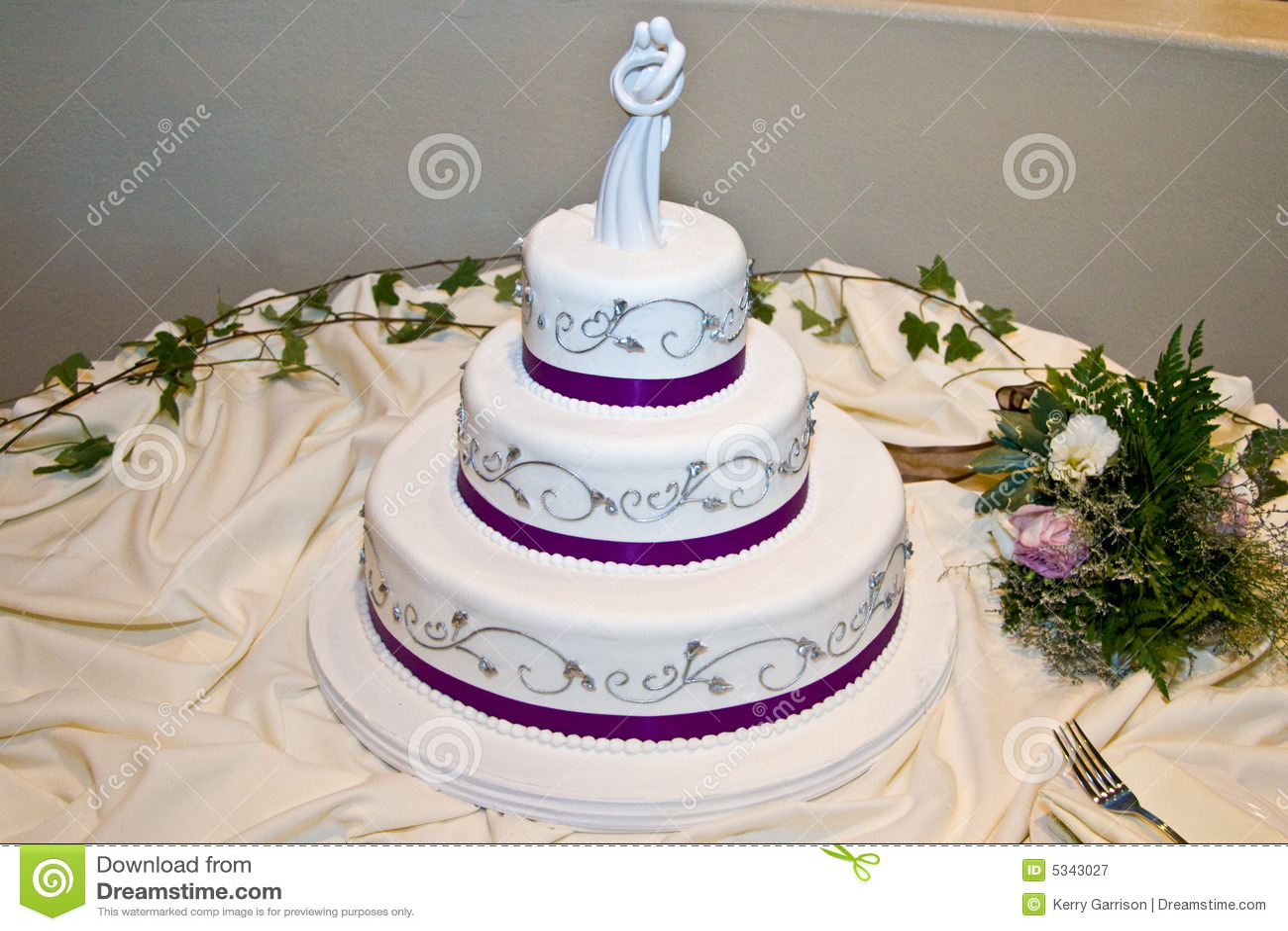 Wedding Cake With Purple Trim Royalty Free Stock