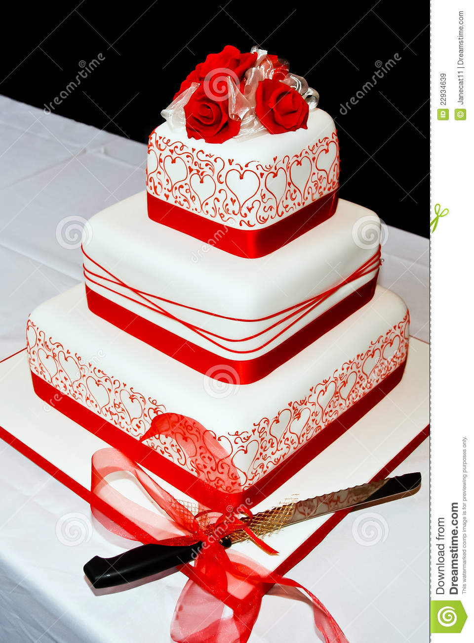Red Ribbon Decoration Cake