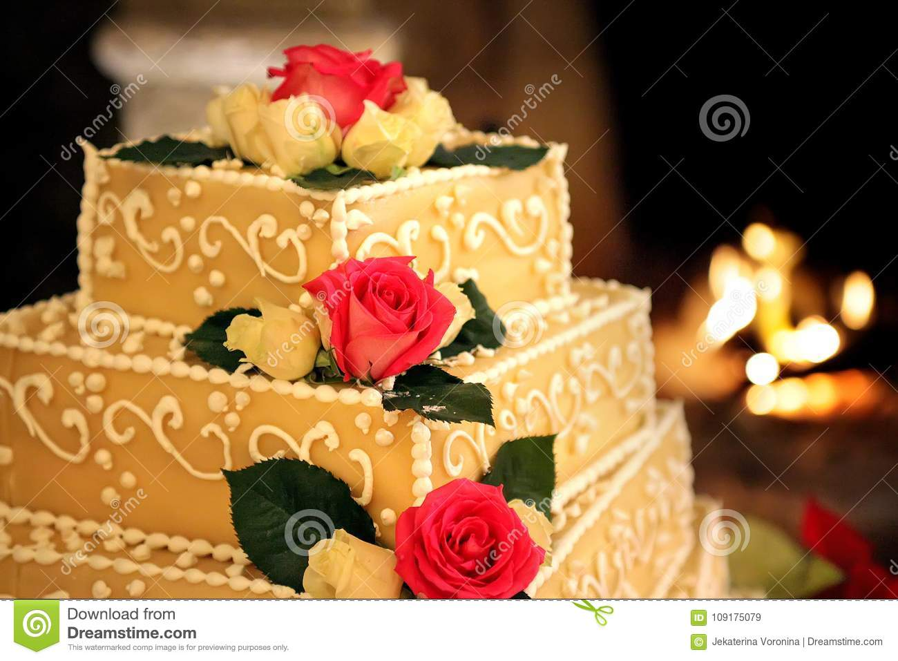 Wedding Cake With Red Roses Stock Image - Image of festive, lights ...