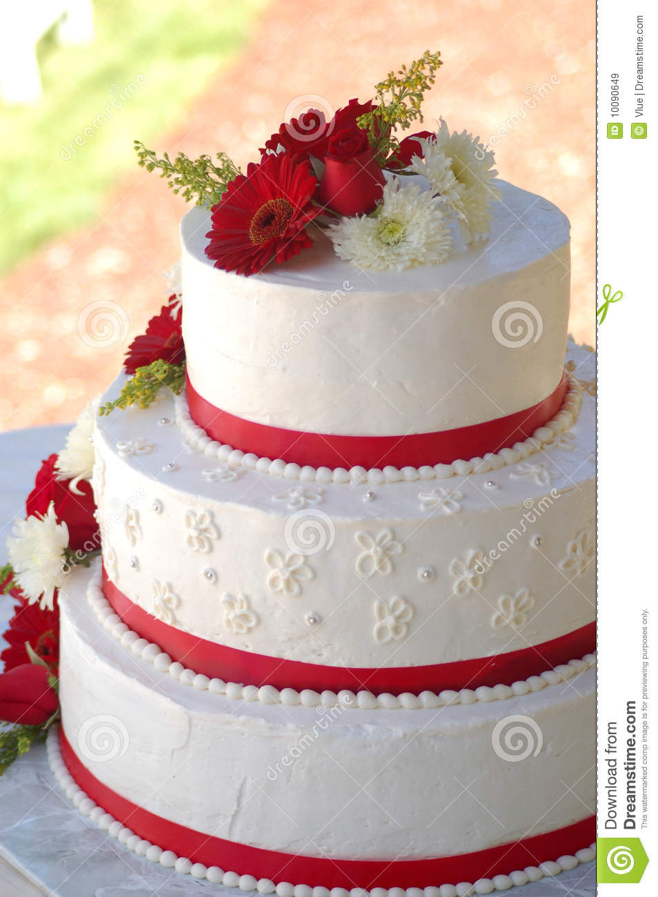 Wedding Cake With Red Stripes And Flowers Stock Image Image Of