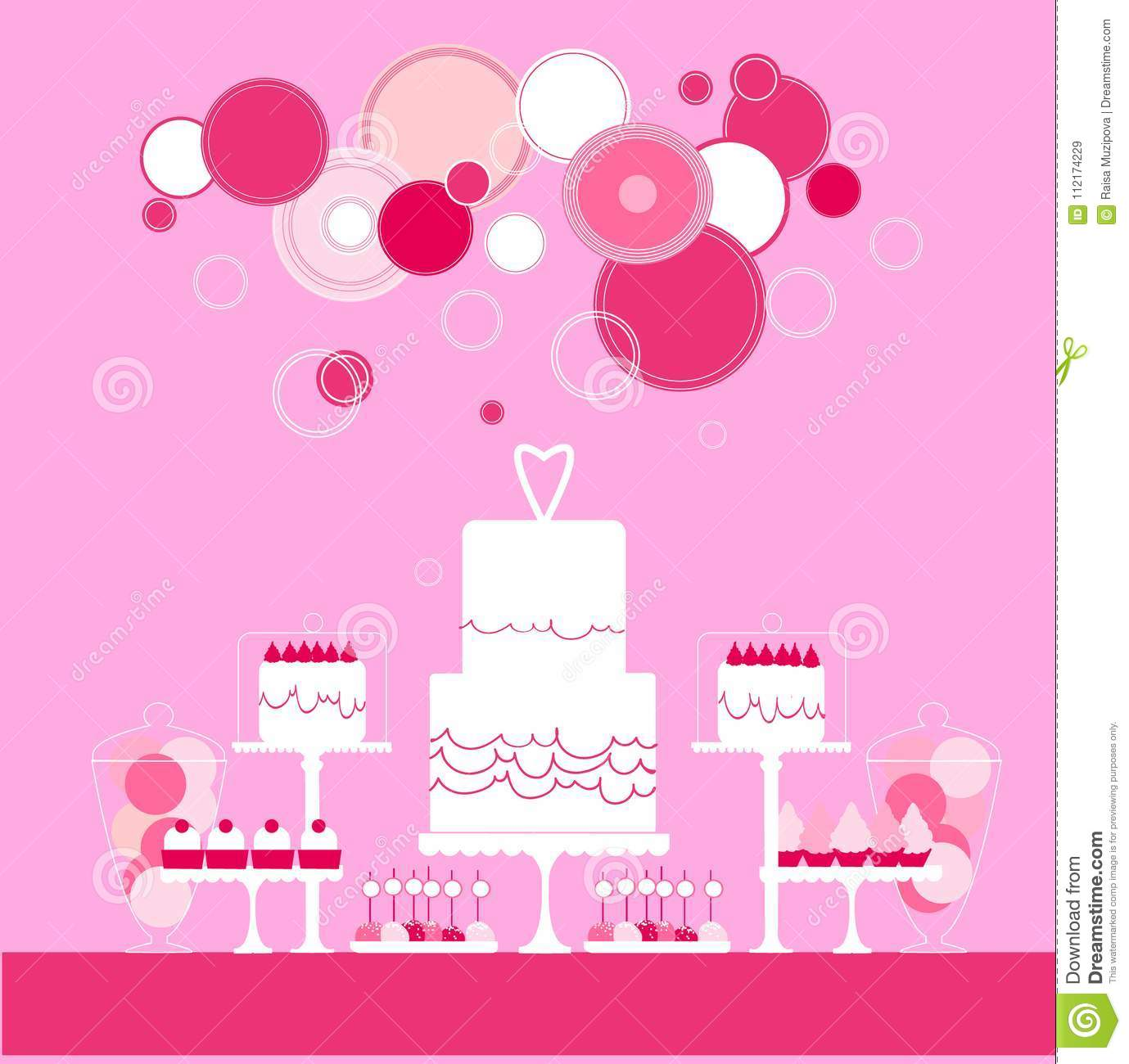 Wedding Cake . Sweet Table. Vector Illustration. Stock Vector ...