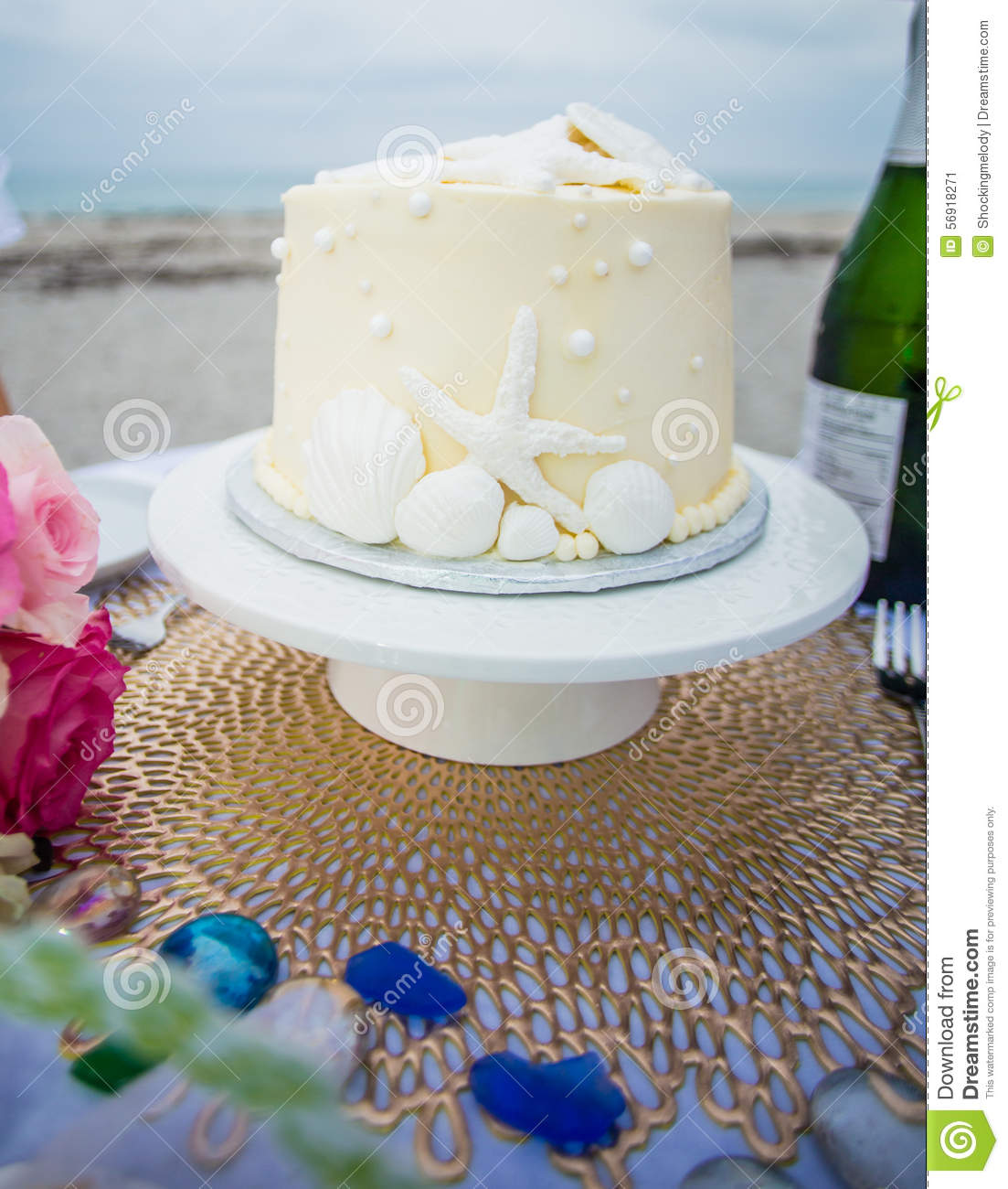 beach themed wedding cake table wedding cake on the table stock image image of table 11152