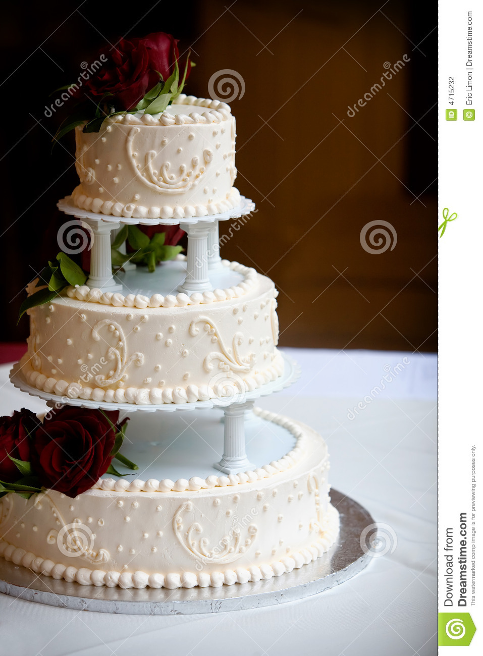 Three Tear Wedding Cakes.Wedding Cake With Three Tiers Stock Photo Image Of Bridal