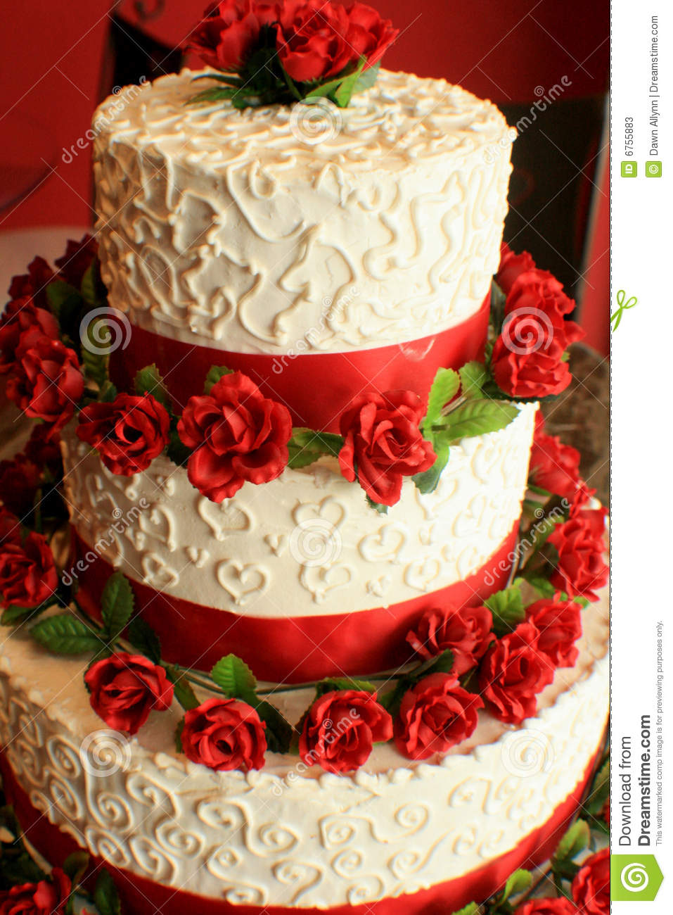 Wedding Cake W Red Stock Image Image Of Baker Delicate