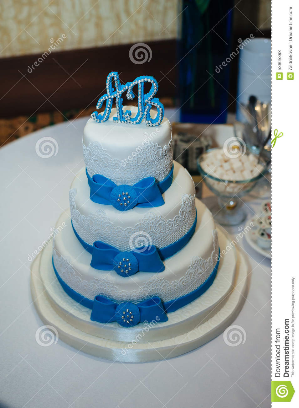 Wedding cake in white and blue combination stock photo image of wedding cake in white and blue combination izmirmasajfo