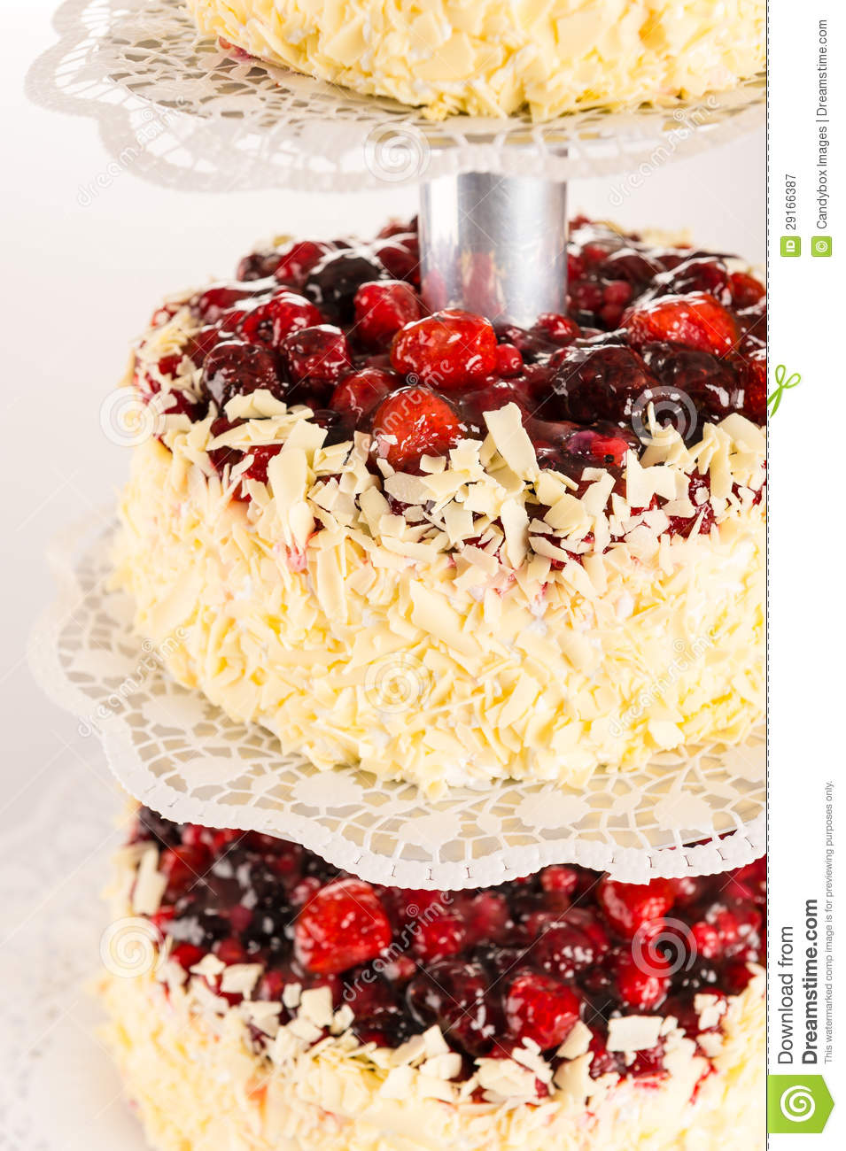 Wedding Cake White Chocolate And Red Berries Royalty Free