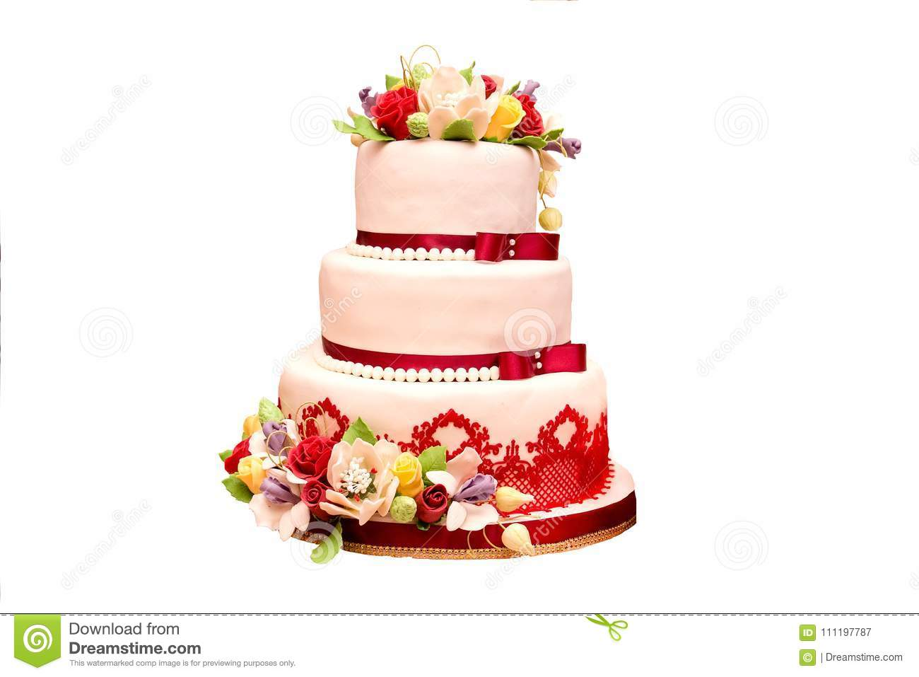 Wedding Cake In White-red Color With Flowers Stock Image - Image of ...