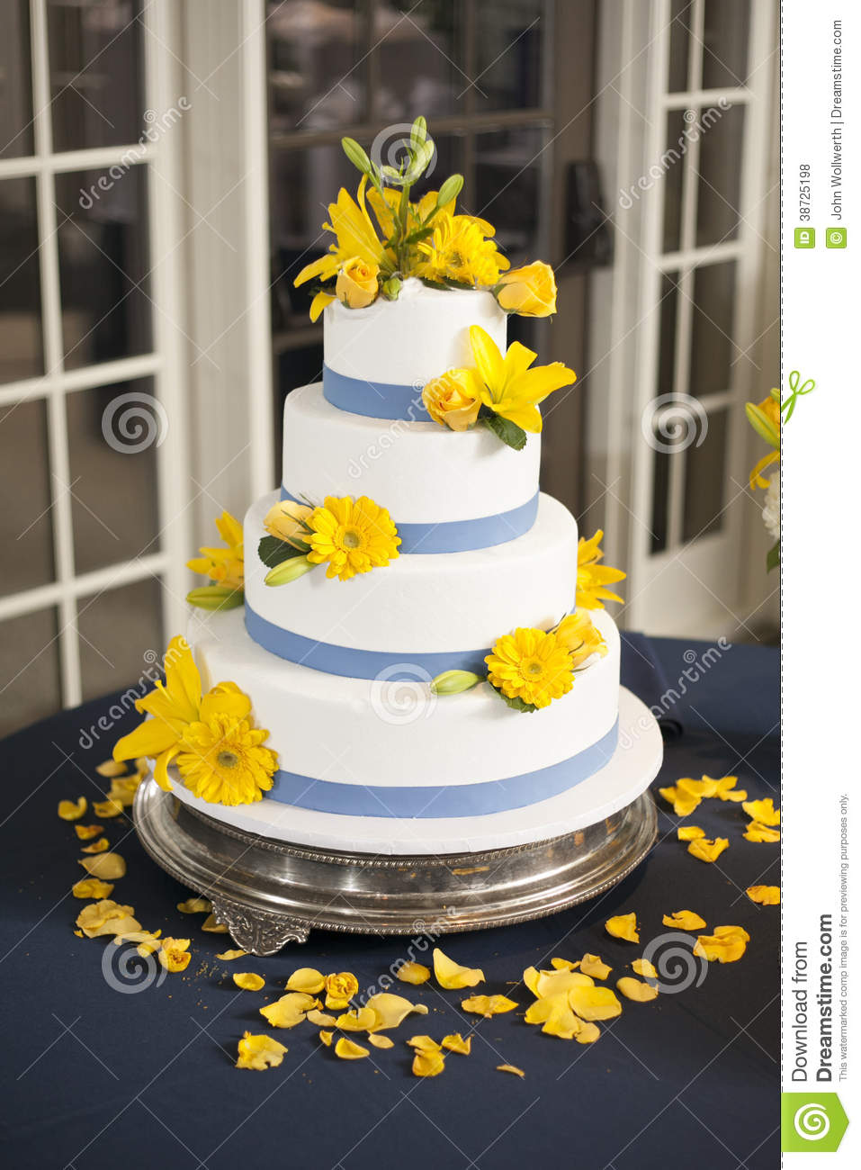 Wedding Cake With Yellow Flowers Stock Photo Image Of Sugar Food 38725198